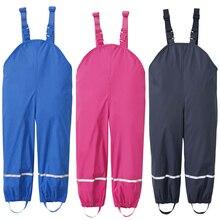 Chuvas meninos calças da menina do plutônio impermeável calças amarelo azul ao ar livre crianças roupas de esqui crianças macacão 18 m 6 t anos