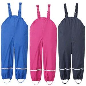 Image 1 - 雨男の子パンツ PU 防水少女のズボン黄色ブルー屋外子供服スキー子供ジャンプスーツ 18 M 6 T 年オーバーオール