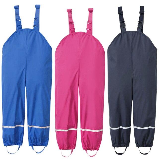 雨男の子パンツ PU 防水少女のズボン黄色ブルー屋外子供服スキー子供ジャンプスーツ 18 M 6 T 年オーバーオール