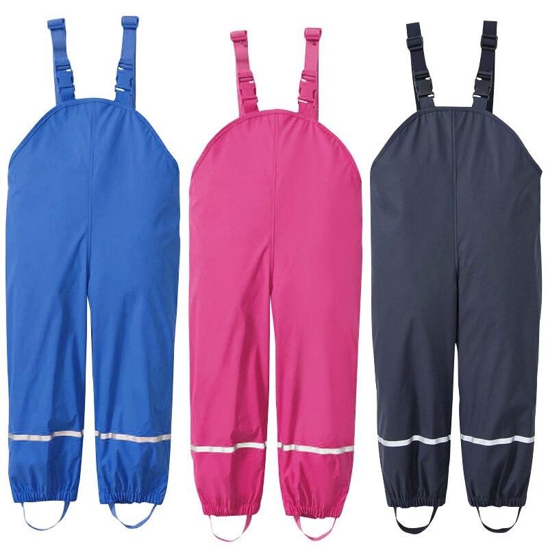 Regens Jongens Broek Pu Waterdichte Meisje Broek Geel Blauw Outdoor Kinderkleding Ski Kids Jumpsuit 18 M-6 T Jaar Overalls Koop One Give One