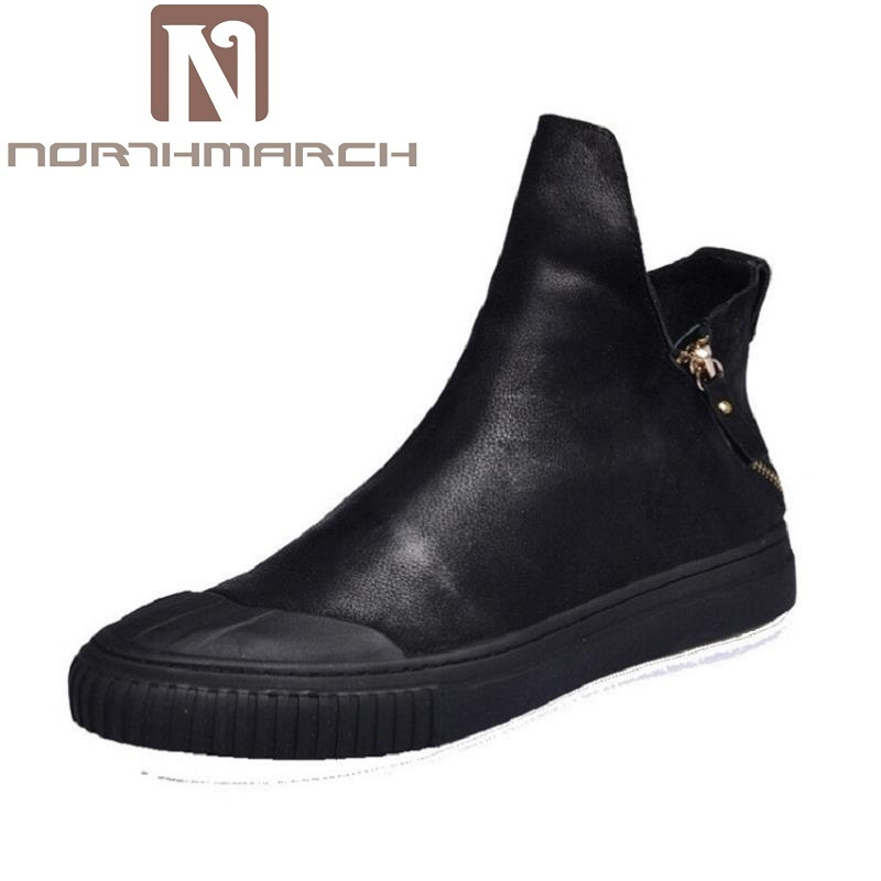 NORTHMARCH Luxury Brand Genuine Leather Men Ankle Boots Man Leather High Top Shoes Outdoor Shoes Martin Boots Laarzen Dames tba genuine leather hiking shoes for women men lovers outdoor sport shoes man brand high top ankle boots women s men s sneakers