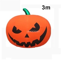 3m Big Luminous LED Color Pumpkin Lantern Air Inflatable Balloon Cartoon Night Bar Halloween Ball Birthday Party Decoration