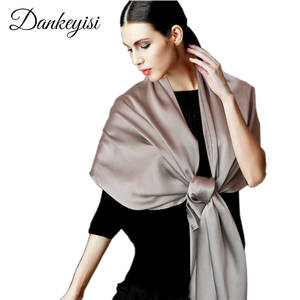 Image 1 - [DANKEYISI] Women Genuine Silk Scarves 100% Natural Silk Scarf Shawls Fashion Pure Color Long Scarf Luxury Brand Neckerchief