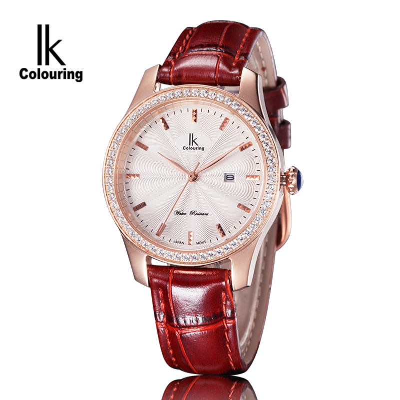 Luxury Diamonds Quartz Waterproof Women Watch Brand IK Colouring Fashion Leather Dress Watch Wristwatch Clock Relogio