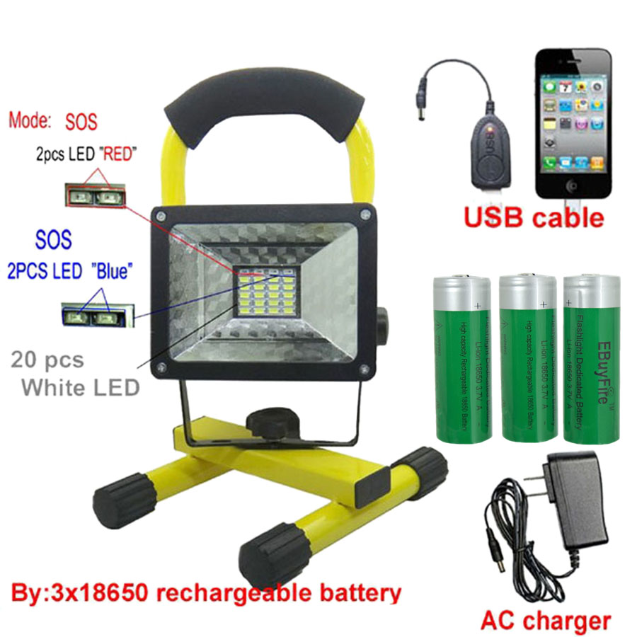 30 W lumière led lumière d'inondation extérieure led 18650 lumière d'inondation rechargeable + chargeur usb + batterie 3x18650