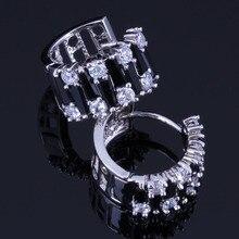 Good-Looking Black Cubic Zirconia White CZ 925 Sterling Silver Clip Hoop Huggie Earrings For Women V1050