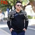 Resortes más el tamaño de los hombres grandes del tamaño ropa de la camiseta de grasa suelta impresión de la moda T-shirt camisa de manga larga Hombres de Gran tamaño 6XL 7XL 5XL