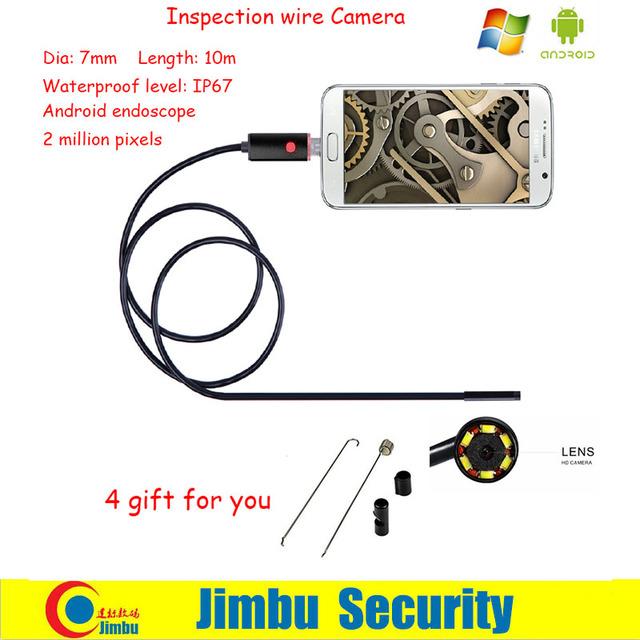 New Waterproof 10 M Tubo De Inspeção Endoscópio Endoscópio 7mm Lens 6 LEDs Snapshot Endoscópio Snake Camera Mini USB Para Android telefone PC