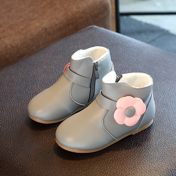 Spring and winter new cotton and warm flowers in the autumn and winter warm cute short section galoshes rain boots girls boots