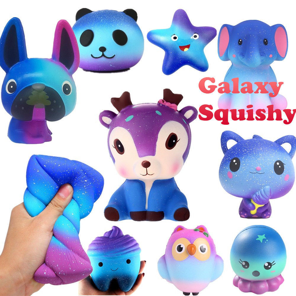 Galaxy Jumbo Skull Bread Squishy Slow Rising French Fries Soft Ice Cream Scented Banana Unicorn Cake Squeeze Toy Phone Straps