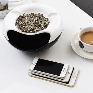 Image 3 - Ленивый пластиковый двухслойный контейнер для сухофруктов семена закусок коробка для хранения держатель мусора тарелка блюдо органайзер подставка для телефона