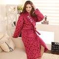 2016 Inverno Camisola de Lã de Algodão-acolchoado Mulheres Robes Roupão Elegante Fêmea Acolchoado Pijama Mujer Robe de Espessura Chuveiro Homewear