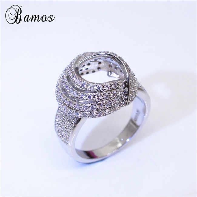 Bamos 巻ノットクロスリングゴージャスな中空ホワイト Cz リング女性のためのホワイトゴールド充填レトロジュエリープロミス結婚指輪