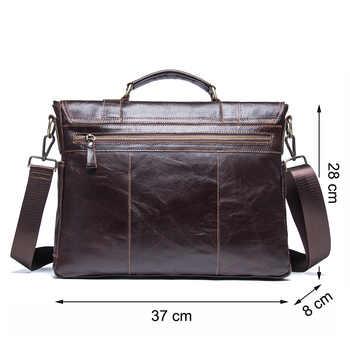 CONTACT\'S men\'s briefcase genuine leather business handbag laptop casual large shoulder bag vintage messenger bags luxury bolsas