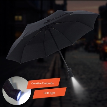 Creative LED Umbrella Flashlight Umbrella Rain Women Brand Men Large Automatic Windproof Three Folding Umbrella RG081