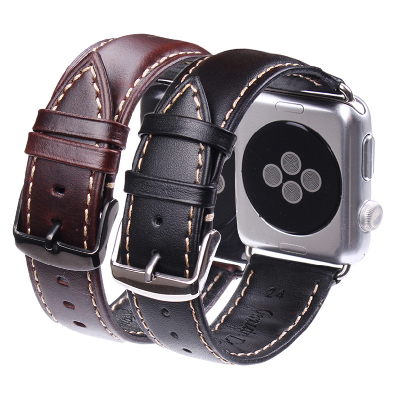 Vintage Genuine Leather Watchband For Iwatch Apple Watch Strap 38mm 42mm Series 1 & 2 Wrist Band Black Dark Brown Bracelet genuine leather band 22mm 24mm for iwatch apple watch 38mm 42mm watchband strap bracelet with connector adapter black brown red