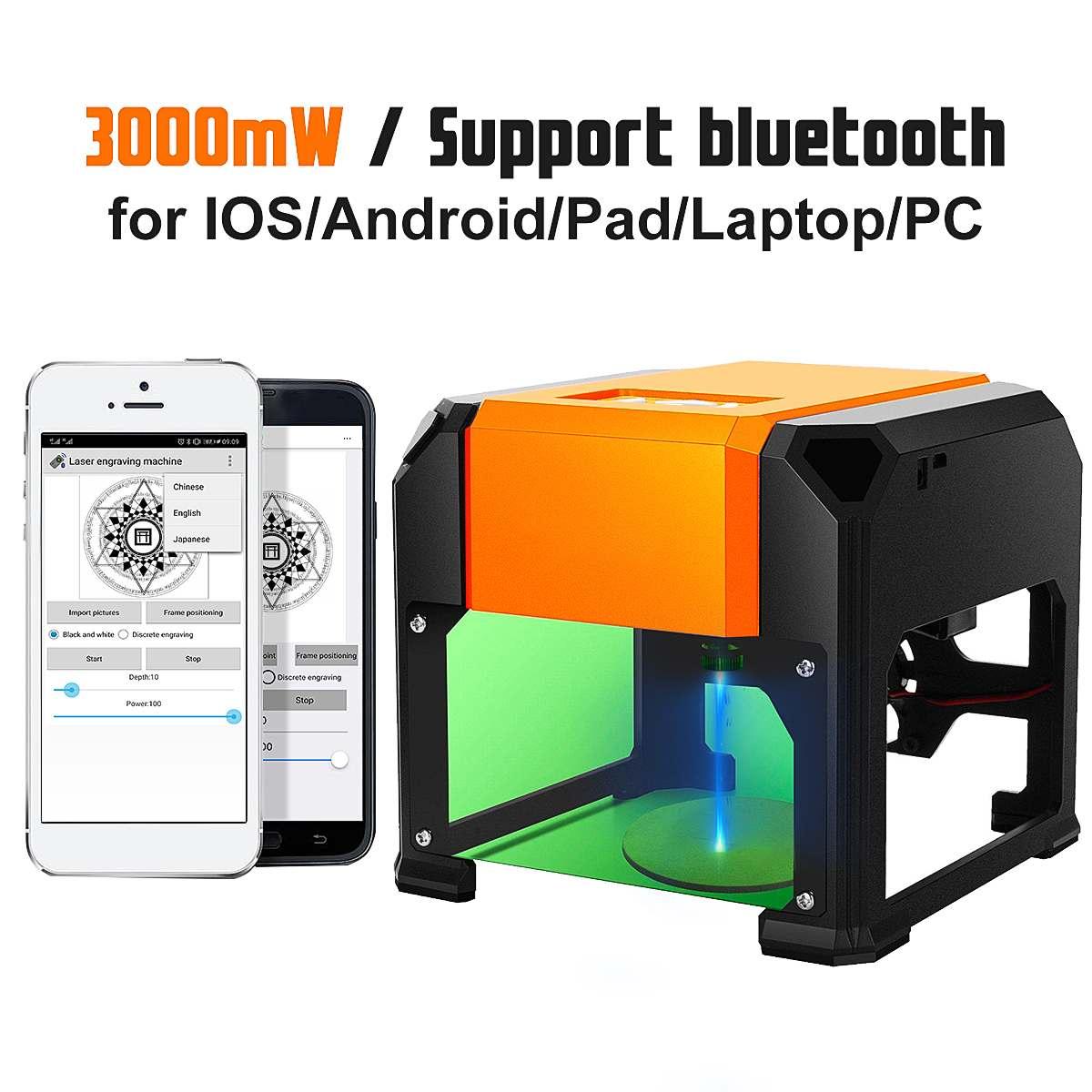 3000mW Bluetooth Desktop CNC Laser Engraving Machine USB Logo Marking Engraver Printer DIY Carving Cutter For IOS/Android