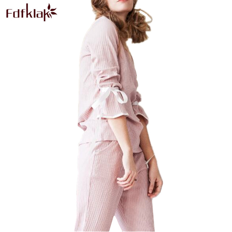 Fdfklak Korean Cotton Pajamas Women Sweet Long Sleeve Pijama Set Home Wear Tracksuit Spring Autumn Pijama Suit Pyjama Femme