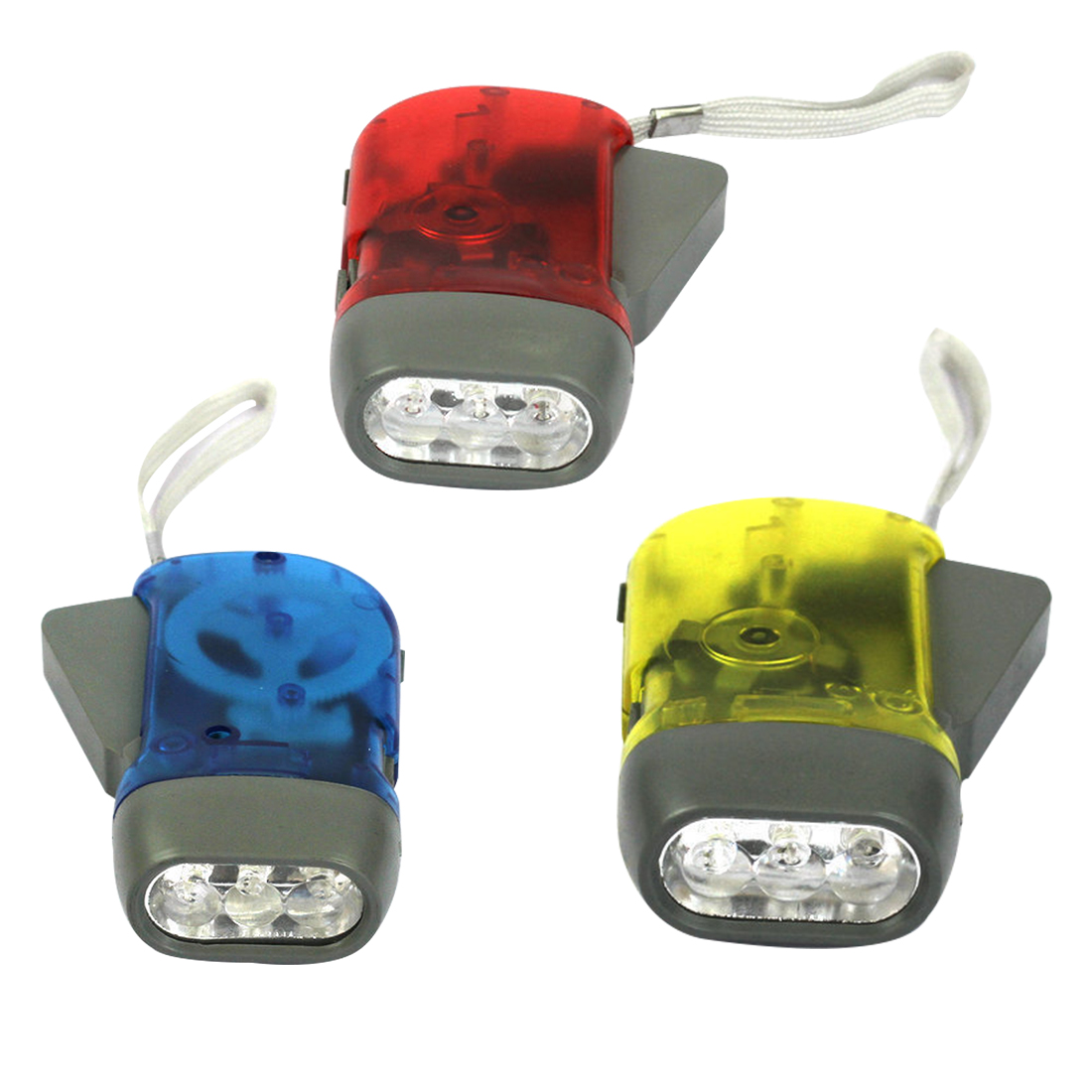High Quality 3 LED Dynamo Wind Up Flashlight Hand-pressing Crank  No Battery Torch Hot Worldwide