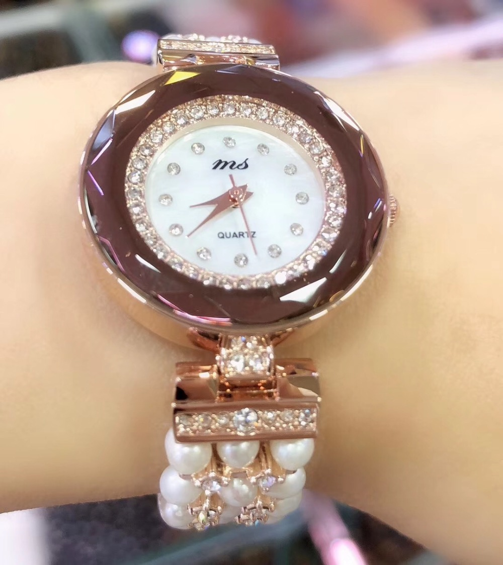 Bracelet en perles d'eau douce naturelles et montre étanche bijoux à bricoler soi-même pour femme pour cadeau pour la plage d'été en gros!