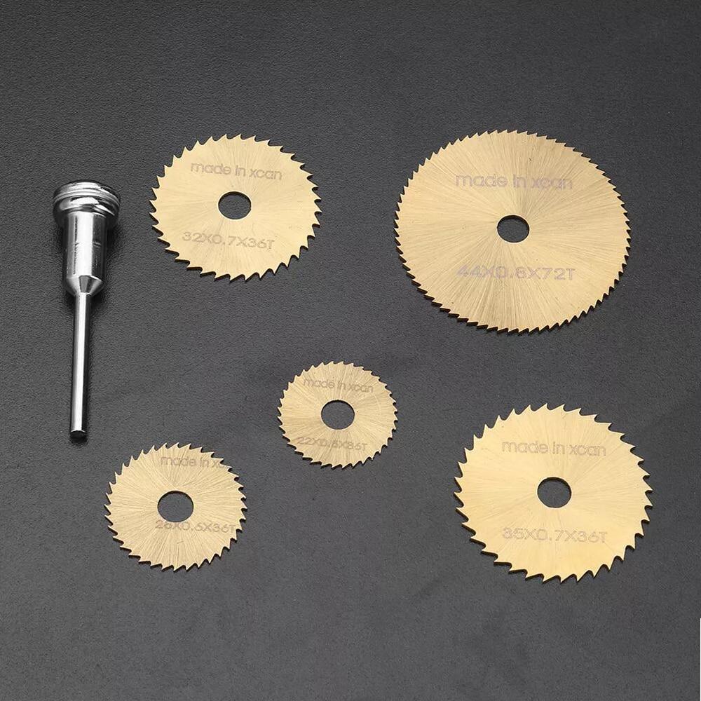 6pcs HSS Circular Saw Blade Rotary Tool For Dremel Metal Cutter Power Tool Set Wood Cutting Discs Drill Mandrel Cutoff