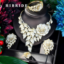 HIBRIDE New Luxury Flower Necklace Pendant Gold Color Luxury Women Jewelry Set For Bridal Party Accessories Jewelry Gifts N-923(China)