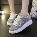 2016 Casual Shoes Woman Fashion Lace-Up Muffin Flats Summer Autumn Glitter Creepers Female Casual Platform Shoes Sliver XWC345
