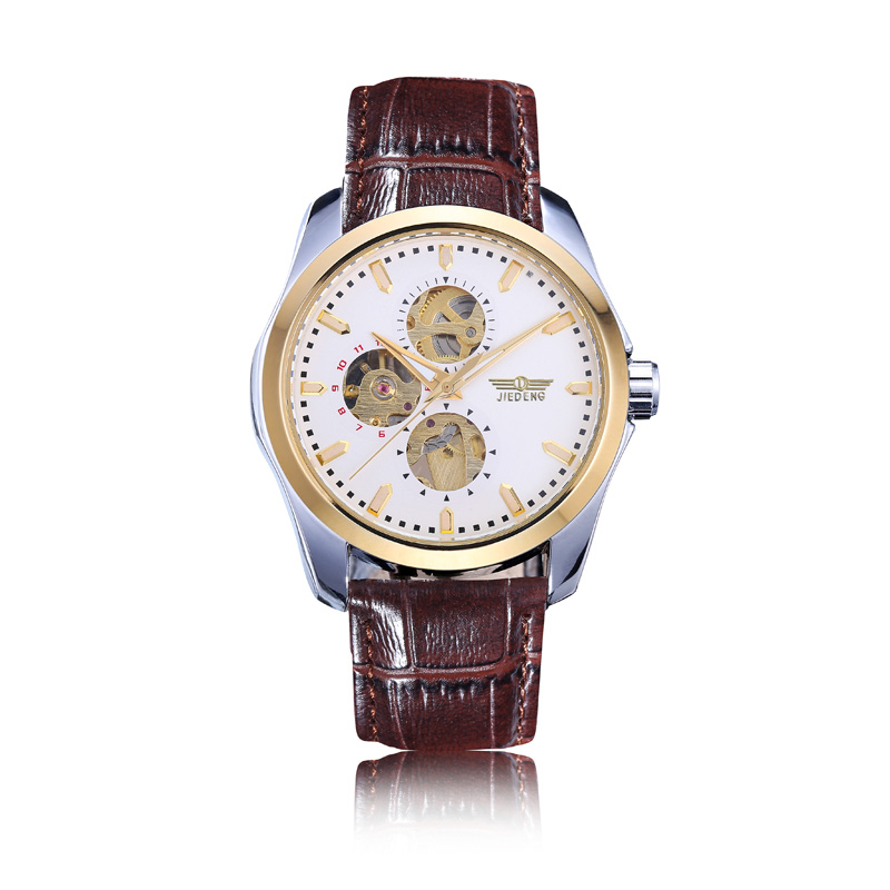 Men Watch Mechanical Watches Movement Skeleton Tourbillon Automatic Leather Wristwatches relogio masculino LD1016