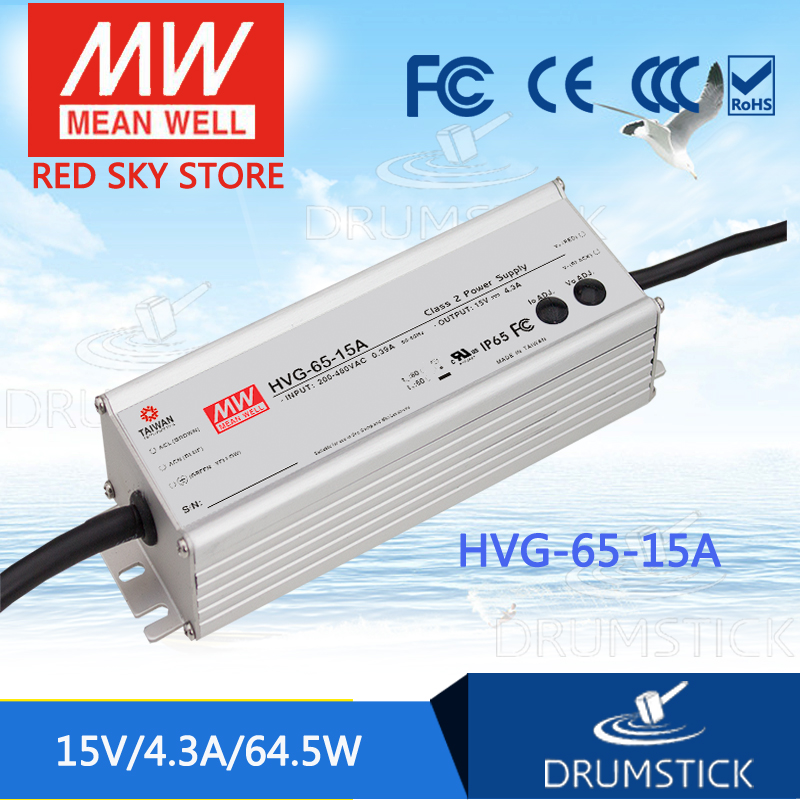MEAN WELL HVG-65-15A 15V 4.3A meanwell HVG-65 15V 64.5W Single Output LED Driver Power Supply A type 1mean well original hvg 100 15a 15v 5a meanwell hvg 100 15v 75w single output led driver power supply a type
