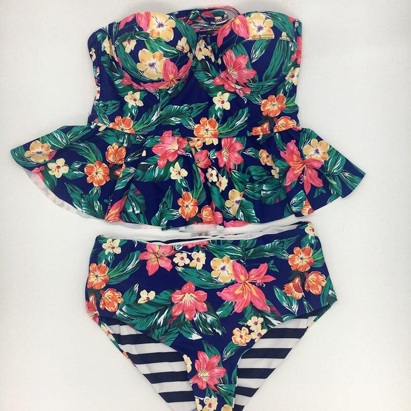 416c0e11069 KEKAKA 2018 Vintage Reversible Green Leaf Floral Print PEPLUM Tankini  Swimsuits Women Plus Size High Waist Bathing Suit Swimwear