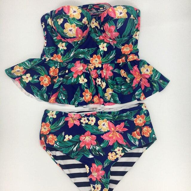 224143be32fb € 11.07 17% de DESCUENTO|Kekaka 2018 vintage reversible hoja verde  impresión floral peplum tankini trajes de baño mujeres más traje de baño de  alta ...