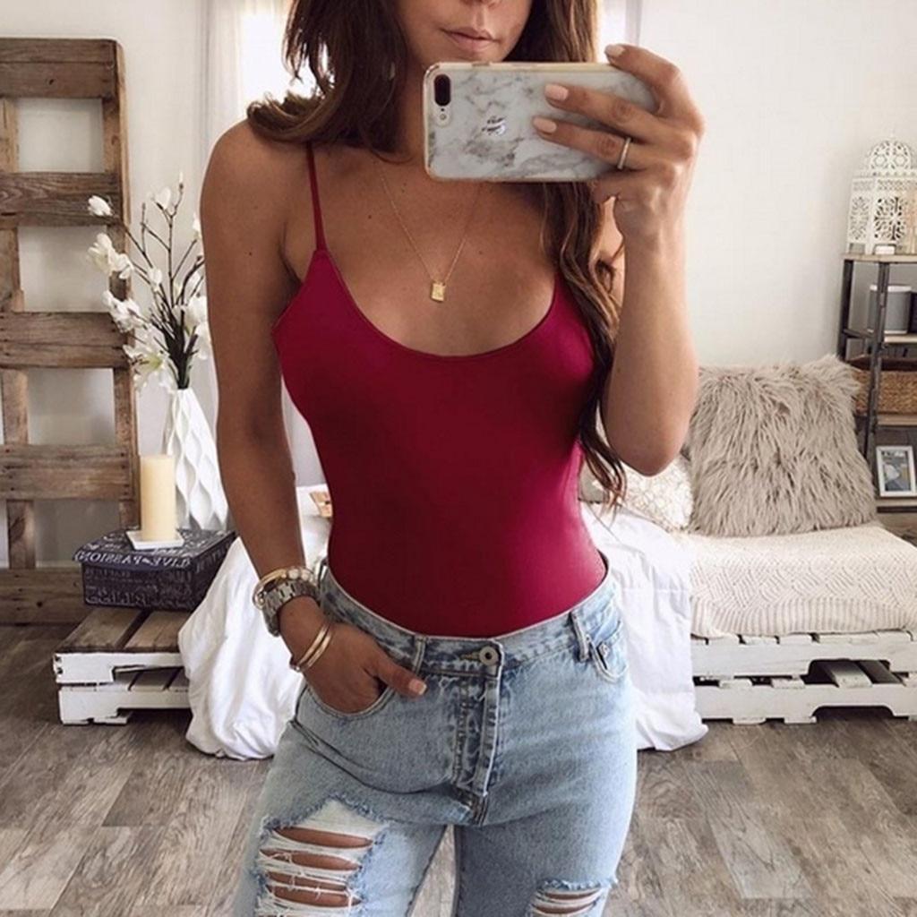 Logical Szyadeou Women's Fashion Slim Sexy U Neck Camisole Jumpsuit Bodysuits Bodis De Mujer 2019 Y*