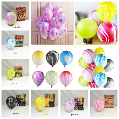 10pcs Wedding Decoration balloons Agate Marble Balloon Colorful Latex for Baby Shower Birthday Party Decorations kids toys Lahore