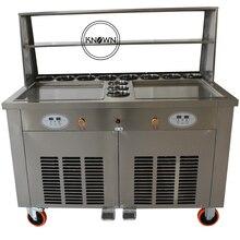 Бесплатная доставка по морю двойной квадратные сковороды с полкой и ободок жареного мороженого ролл машина R410A хладагента
