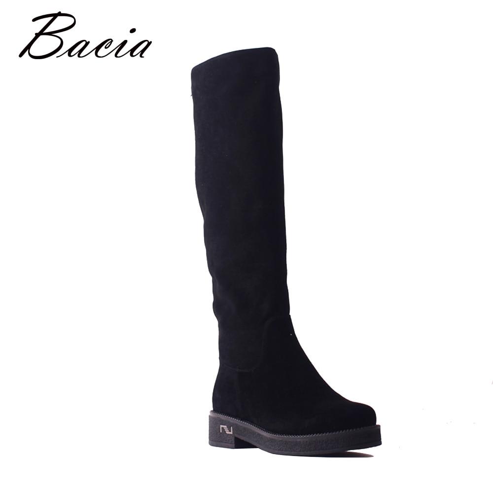 Bacia nuevas ovejas de la rodilla negro botas altas botas de cuero genuino de mujer de lana de invierno botas para la nieve caliente zapatos con cremallera SB102