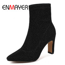 ENMAYER New Women Ankle Boots Pointed toe Square heels lady high heel boots Big size 34-40 Causal Black Silver Shoes women CR920