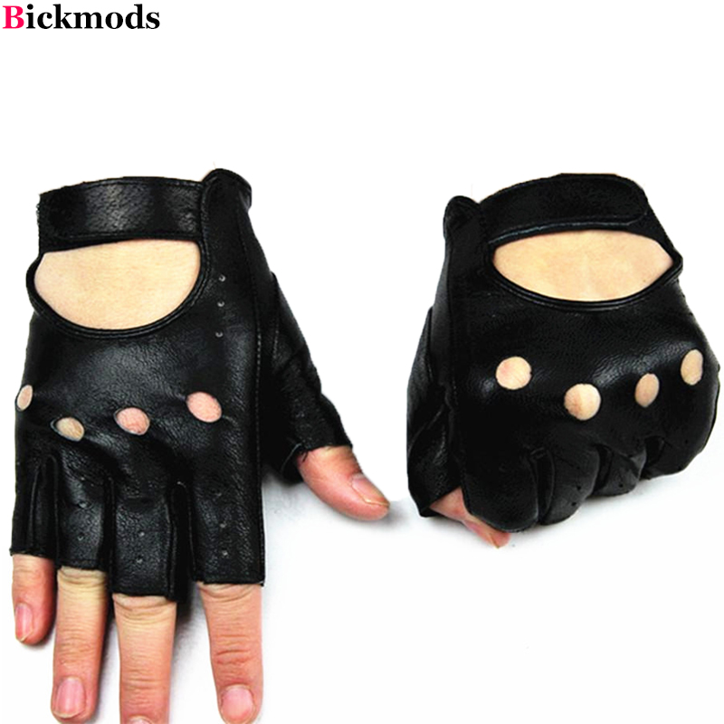 Fingerless leather gloves men s fashion hollow style full leather short sport Cycling driving thin half The Hollow Men