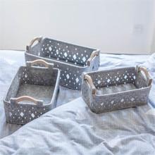 Nordic Grey Felt Cloth Storage Basket Hollow Sundries Organizer Frame Ins Wooden Handles Book Toys Finishing