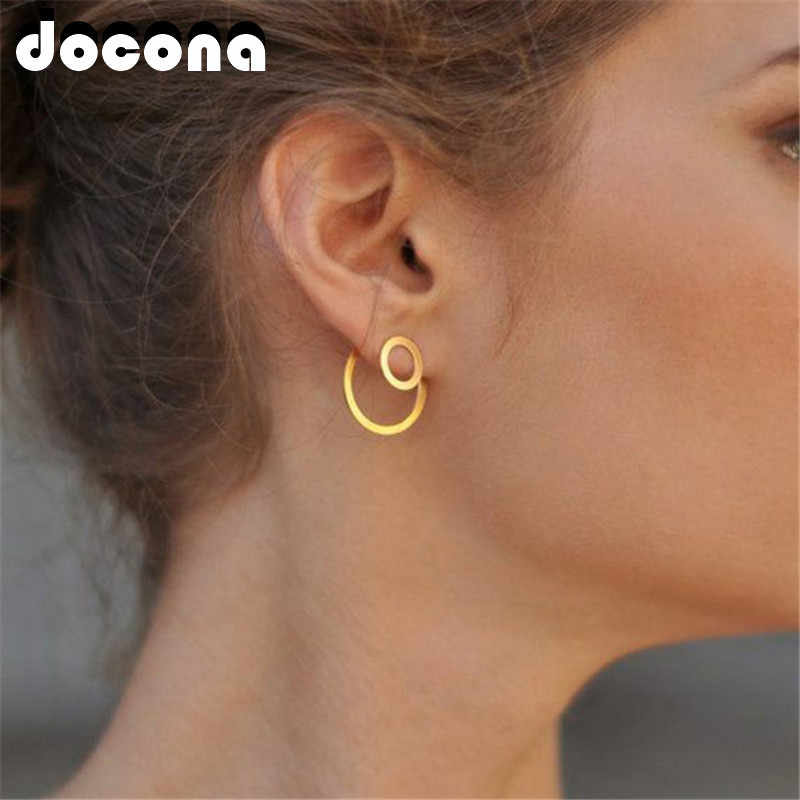 docona Punk Hollow Circle Stud Earrings for Women Simple Minimalist Round Studs Earring Party Jewelry Pendientes 6555