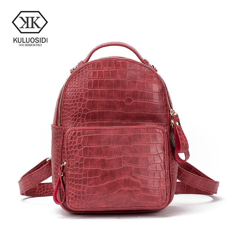 KULUOSIDI Fashion Female Backpack Women Alligator Backpacks For Teenage Girls Travel School Bags For Girls Preppy