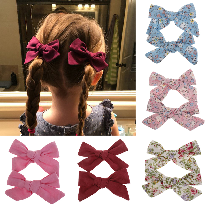 2PCS Flower Print Bows Hair Clips for Girls Solid Color Floral Cotton Hair Bows Fashion Hairpins Barrettes Kids Hair Accessories