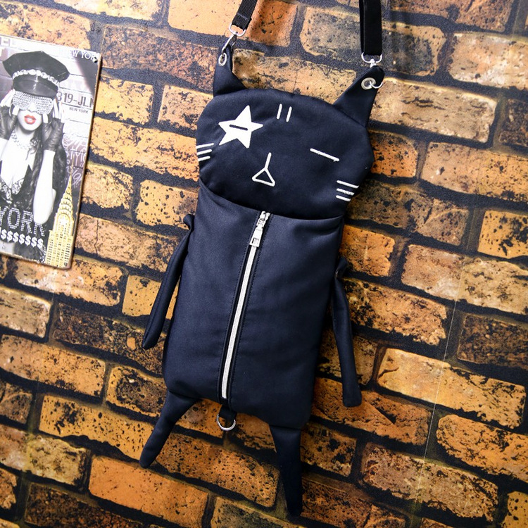 New Personality Design Cat Canvas Bags Funny Cartoon Shoulder Bag Fashion Black Crossbody Bag Girls Schoold Bag
