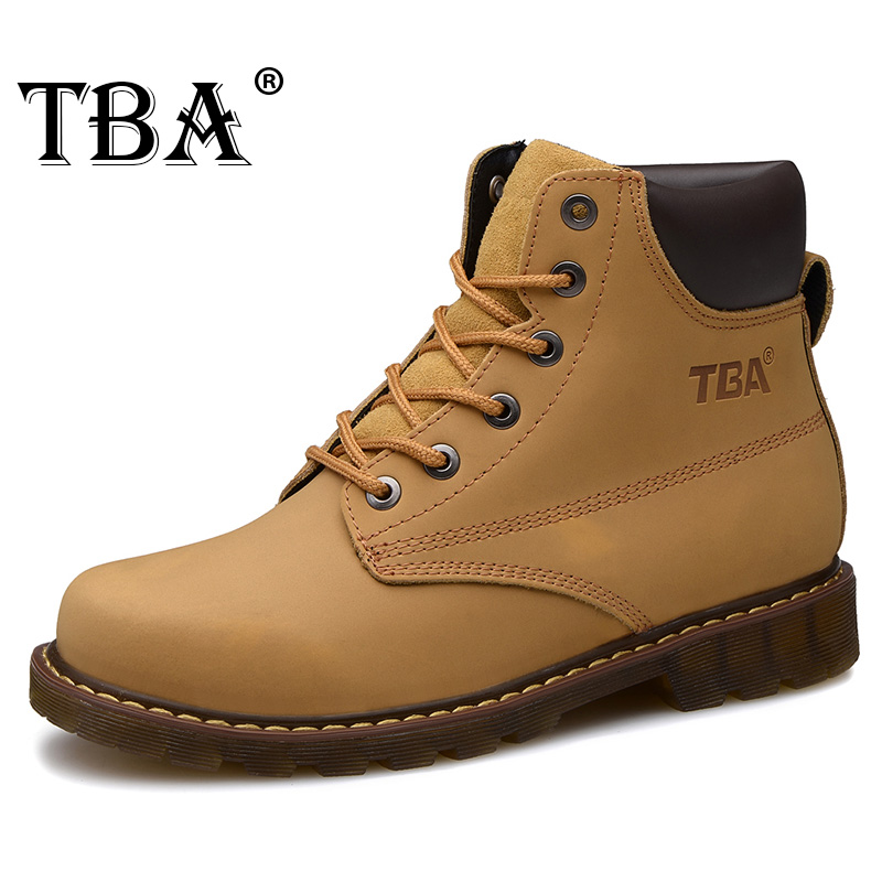 TBA 8075 Men Martin Yellow Cow Split Warm Snow Boots Outdoor Ankle Boot Non-Slip Wear Resistant Cow Muscle Outsole Walking Shoes yin qi shi man winter outdoor shoes hiking camping trip high top hiking boots cow leather durable female plush warm outdoor boot