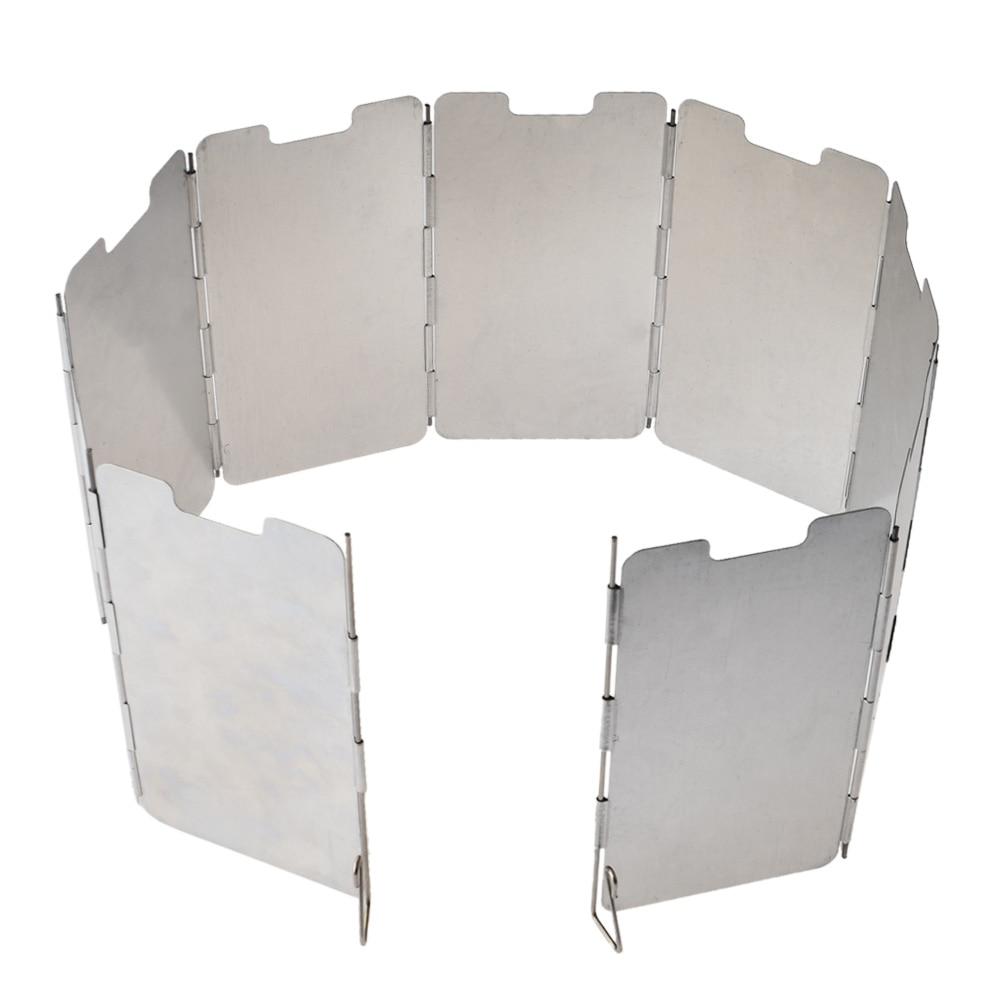 9PCS/Set Windproof BBQ Plates Grill Wind Screen Camping Equipment Picnic Wind Shield Winderscreen Wind Deflector
