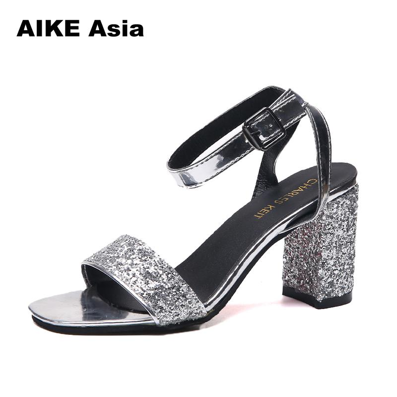 2018 Summer Hollow Women Sandals Thick High Heel Ankle Strap Sandalias Mujer Fashion Sandal Female Black Party Shoes #002 new summer sandal high heel women thick bottom female sandals casual shoes fashion leather sandal comfortable sweet cute woman