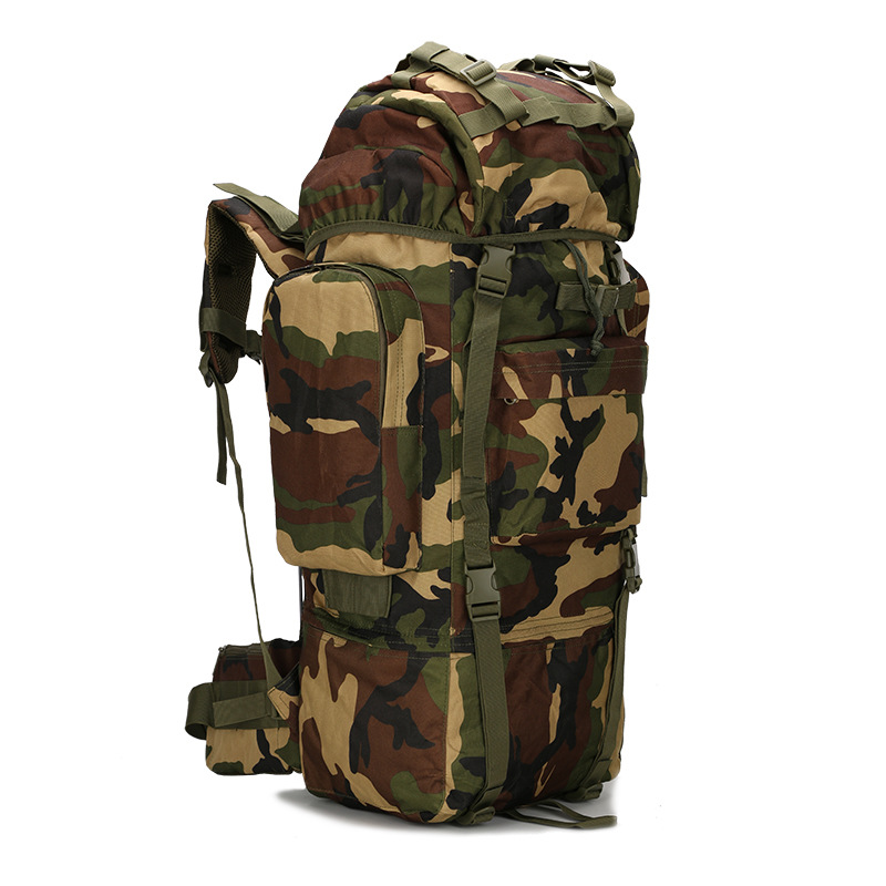 The new 65L large capacity bag waterproof cover camouflage backpack on foot backpack new 65l large capacity mountaineering bag camping outdoor bag hiking waterproof cover camouflage backpack fishing bag