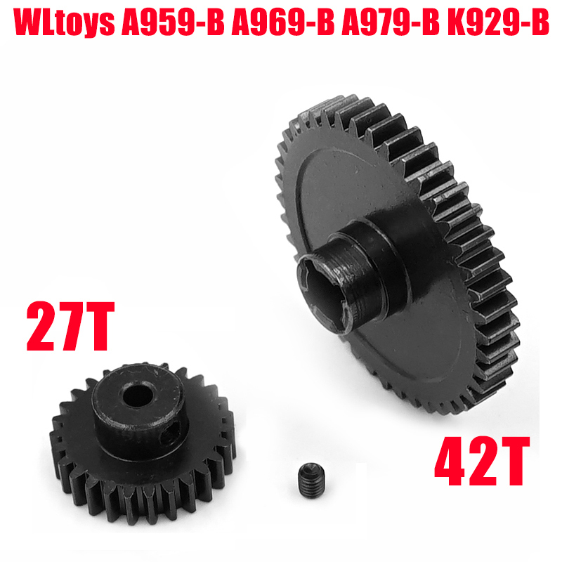 Metal 42T Reduction Spur Gear Diff Main & Motor Pinion Gear 27T For WLtoys A959-B A969-B A979-B K929-B Replacement Of A959-B-15