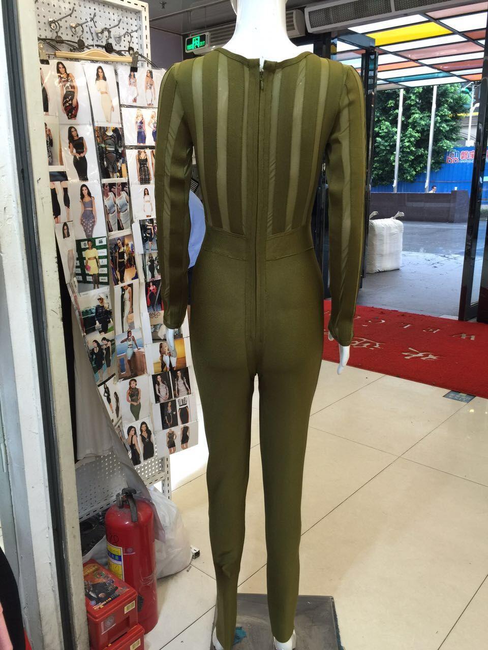 Army Tricoté Sexy Manches Salopette Vert 2016 Élégant Designer Longues Bandage Combinaisons Moulante Top Qualité Green Hl Femmes À qwvIEfaOE