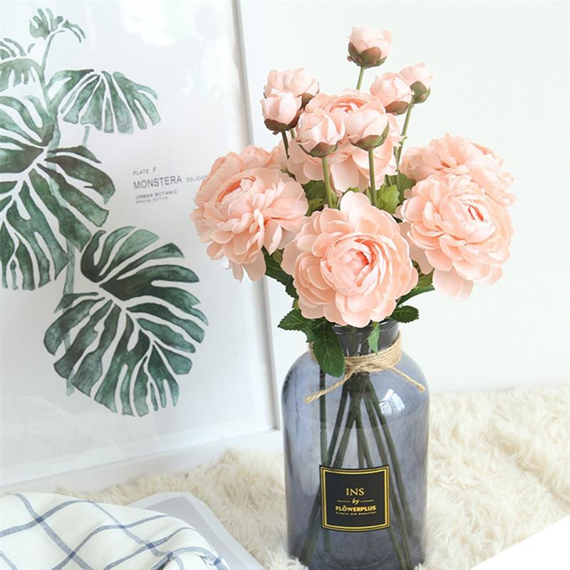 Peony flower lotus high quality silk artificial flower vivid fake leaf wedding home party decoration 1 piece free in Artificial Dried Flowers from Home Garden