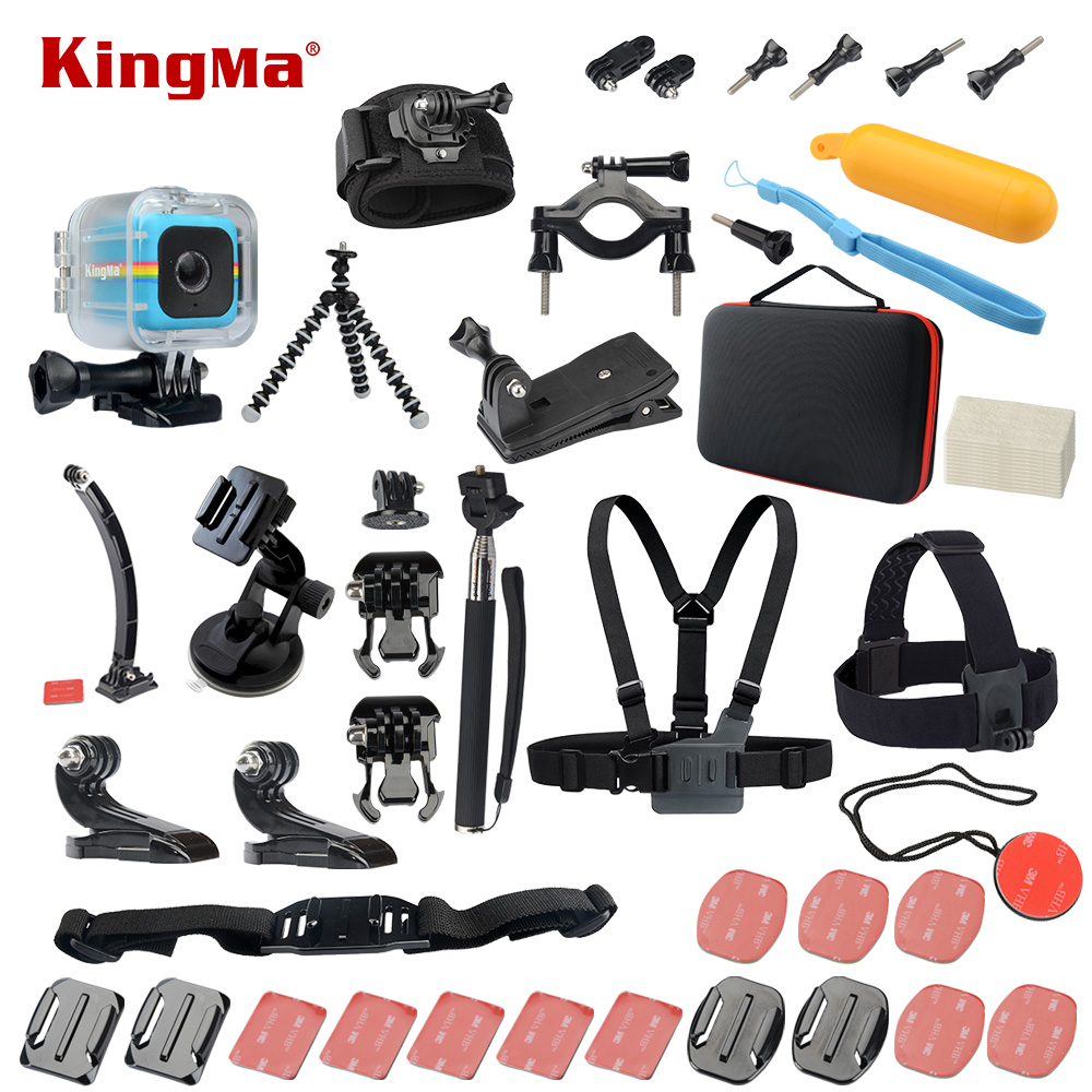 KingMa For Polaroid Cube+ Waterproof Case 20-in-1 Accessories Kit for Polaroid Cube and Cube+ аксессуар крепление polaroid polc3wsm cube waterproof case with suction mount